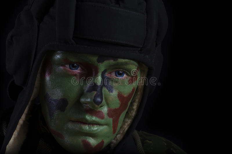 Female Soldier Face royalty free stock images