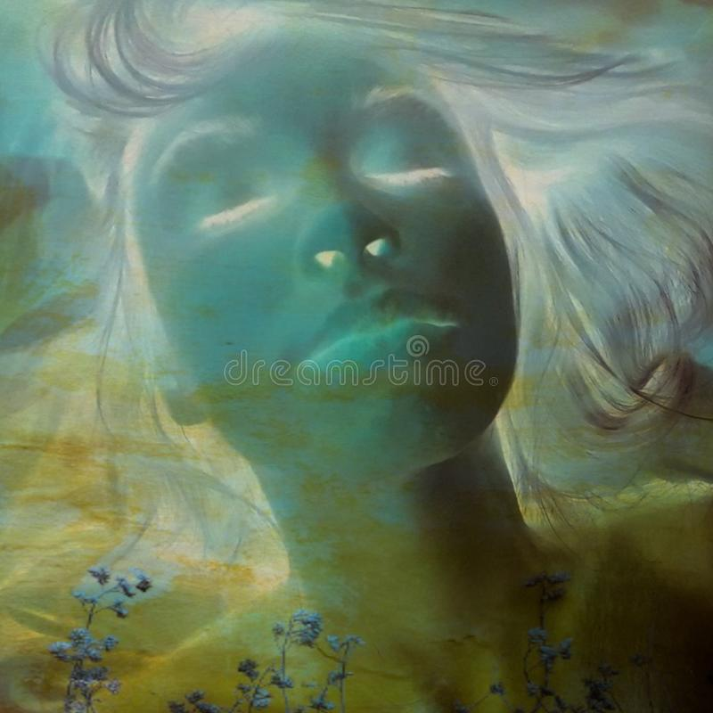 Female soul abstract portrait in blue yellow tones royalty free stock photography