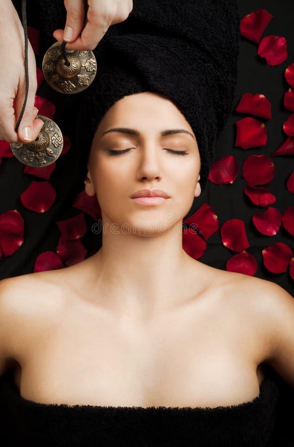 Female sound therapy stock photos