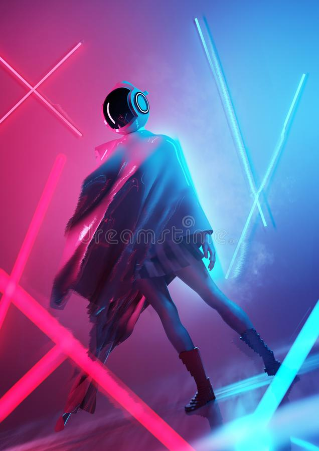 Female Space Model With A Futuristic Setting. A futuristic female model in a space outfit and helmet posing in neon lighting. conceptual people 3D illustration stock illustration
