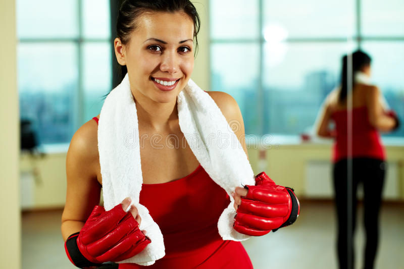 Female in sport gloves royalty free stock image