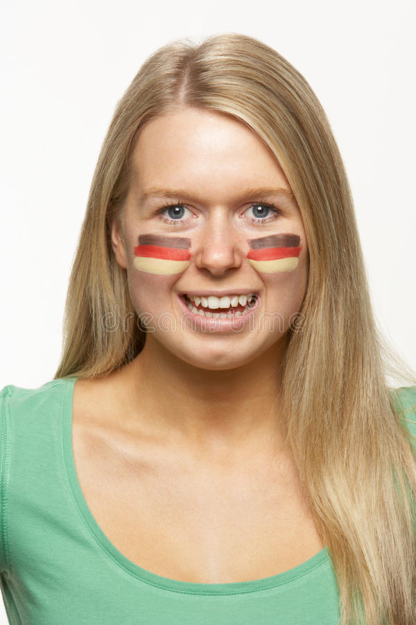 Female Sports Fan With German Flag  On