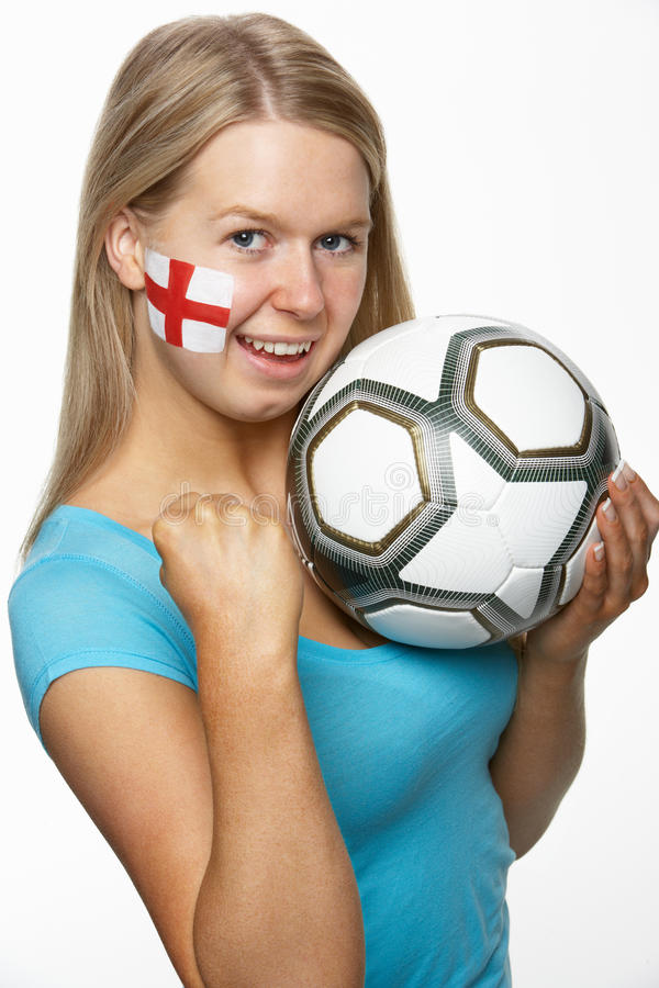 Download Female Sports Fan With St Georges Flag On Face Royalty Free Stock Photo - Image: 18749755