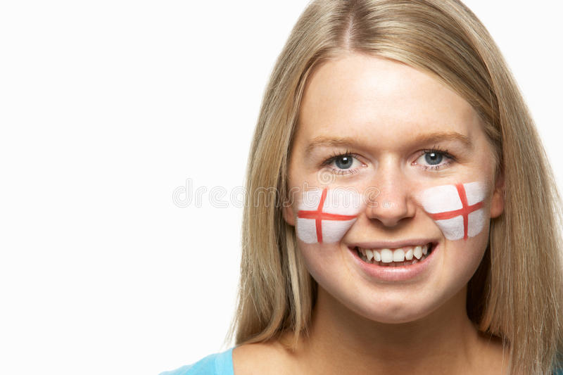 Download Female Sports Fan With St Georges Flag On Face Stock Image - Image: 18749939