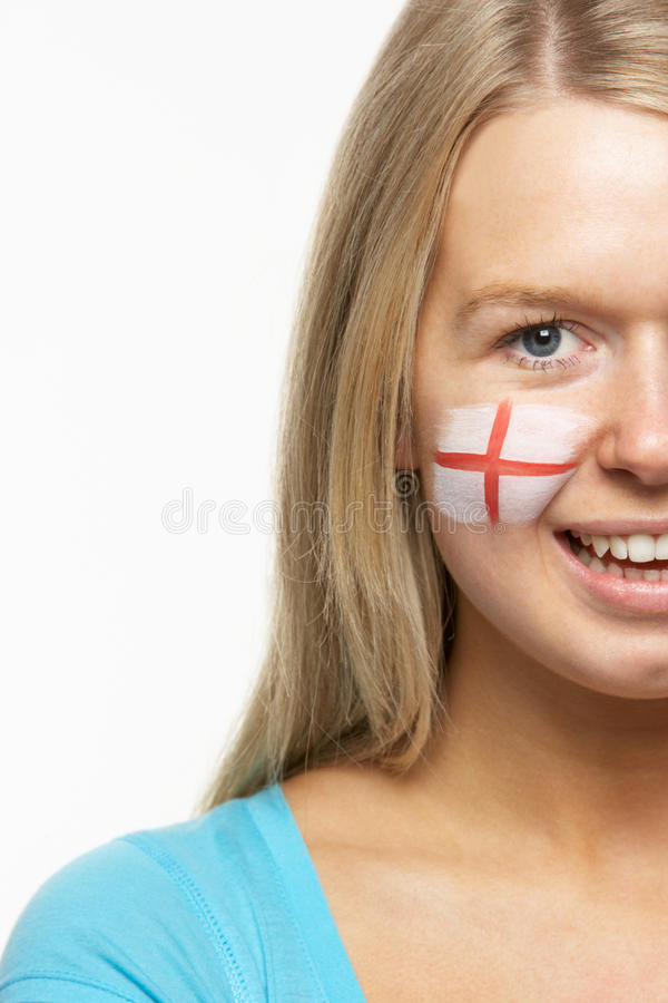 Female Sports Fan With St Georges Flag On Face stock image