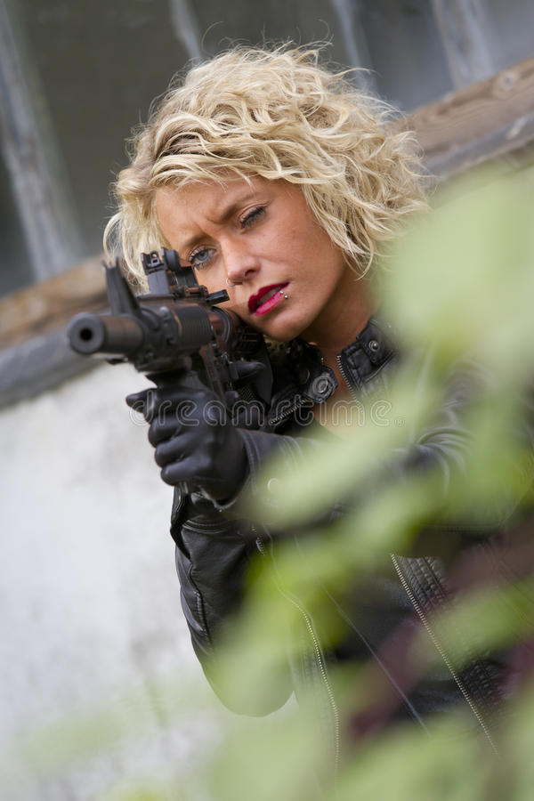Download Female Spy Aiming Stock Photography - Image: 27333952