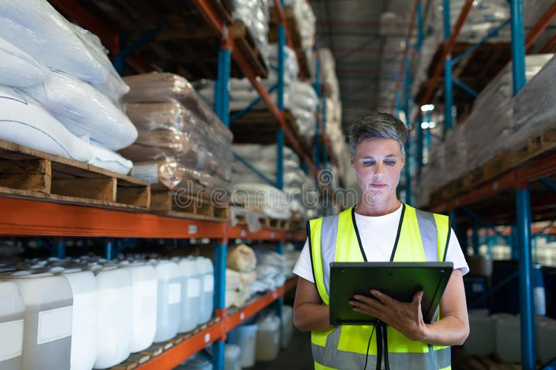 Female staff using digital tablet in warehouse. Front view of Caucasian Attentive female staff using digital tablet in warehouse. This is a freight royalty free stock photography