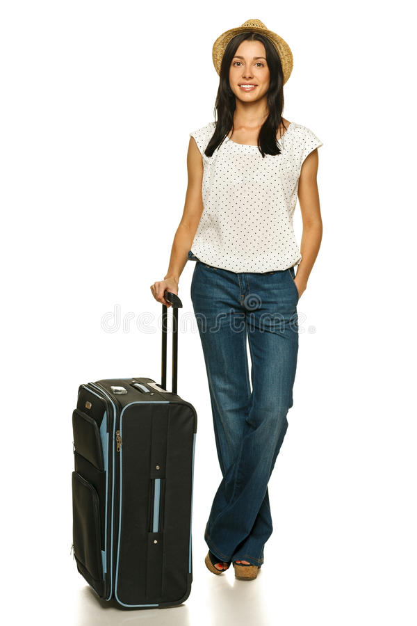 Download Female Standing With Travel Suitcase Stock Image - Image: 26313593