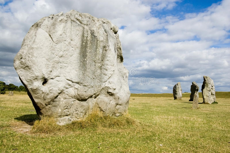 Female stone, inner circle, Avebury. A huge diamond shaped stone thought to have female qualities. Inner part of the ancient stone circle at Avebury, Wiltshire stock image