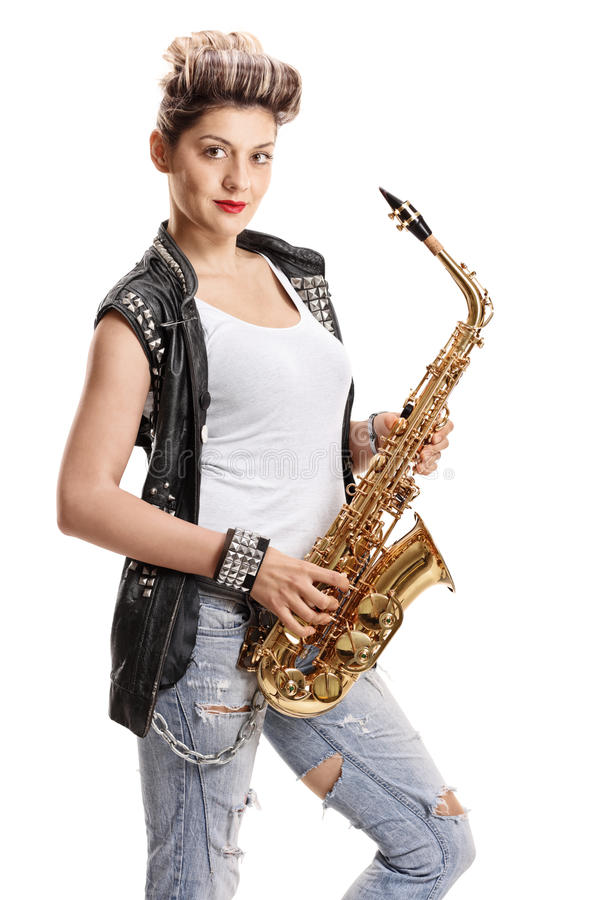 Female street performer with a saxophone. Isolated on white background stock photo