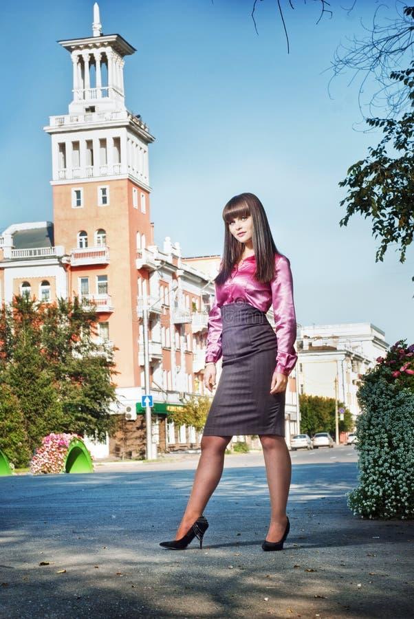 Female in street scene stock photo