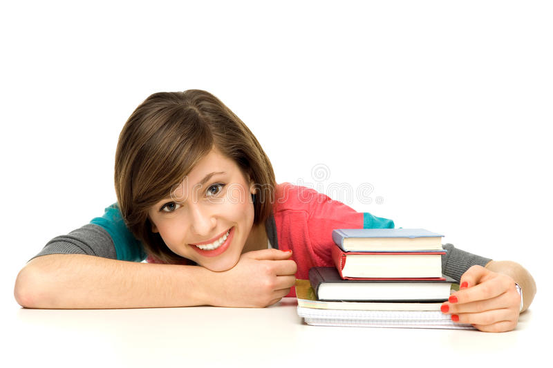 Download Female student with books stock image. Image of cheerful - 22959875