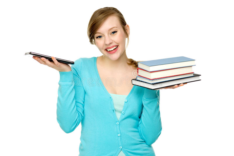 Download Female Student With Books And Digital Tablet Stock Image - Image of female, pretty: 24509303