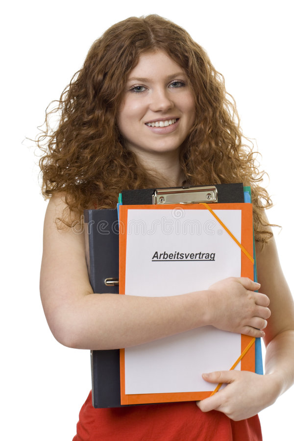 Female student with briefcase contract of employme royalty free stock photo
