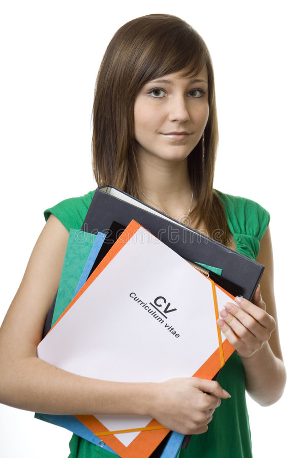 Female student with briefcase CV, curriculum vitae. Documents for the job search royalty free stock photo