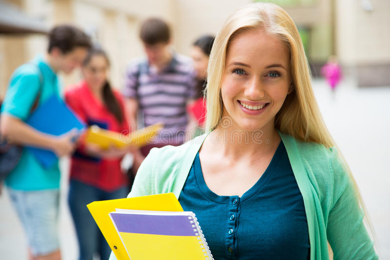 Female student outdoors royalty free stock photo