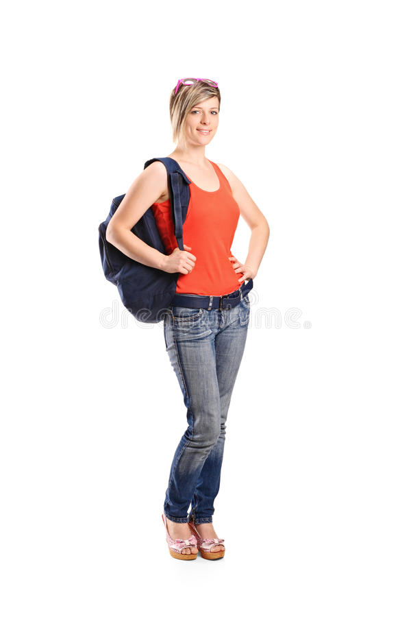 Female Student With School Bag Stock Image