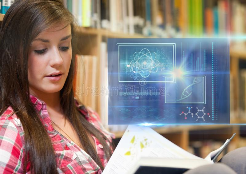 Female Student studying with book and science education interface graphics overlay. Digital composite of Female Student studying with book and science education vector illustration