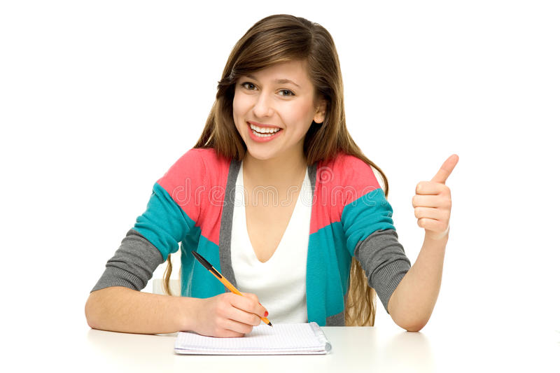 Download Female Student With Thumbs Up Stock Image - Image of school, student: 23032341
