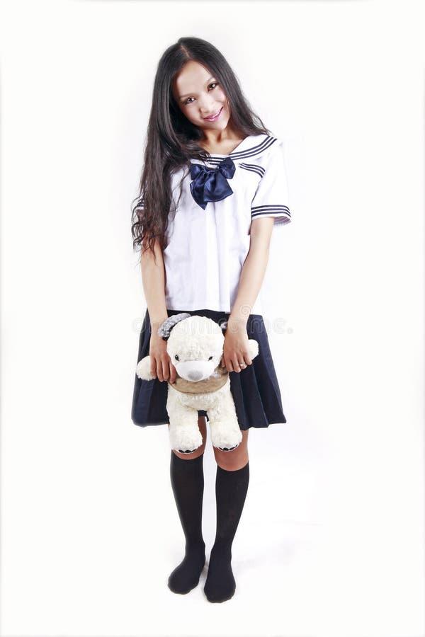 Female Student & Toy Dog Royalty Free Stock Photo