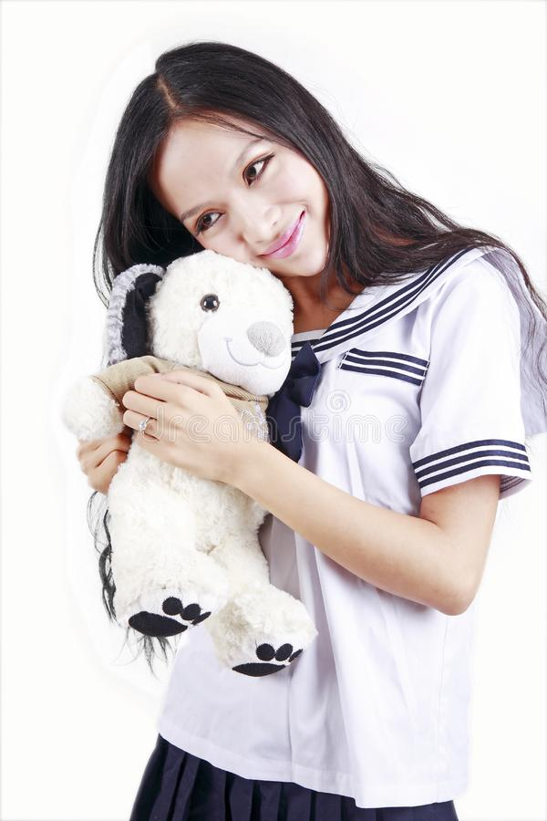 Download Female student & toy dog stock photo. Image of oriental - 15747666