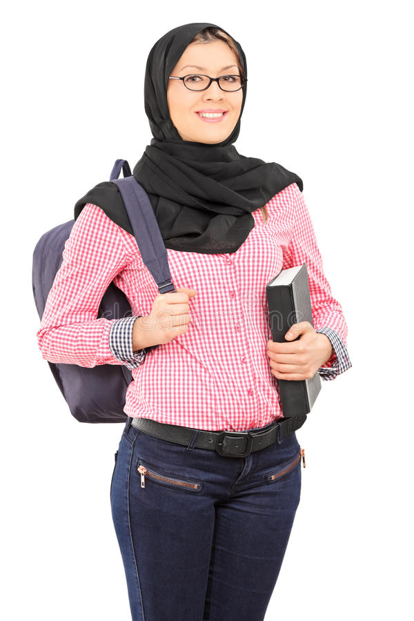 Female student with traditional Islamic veil stock photo