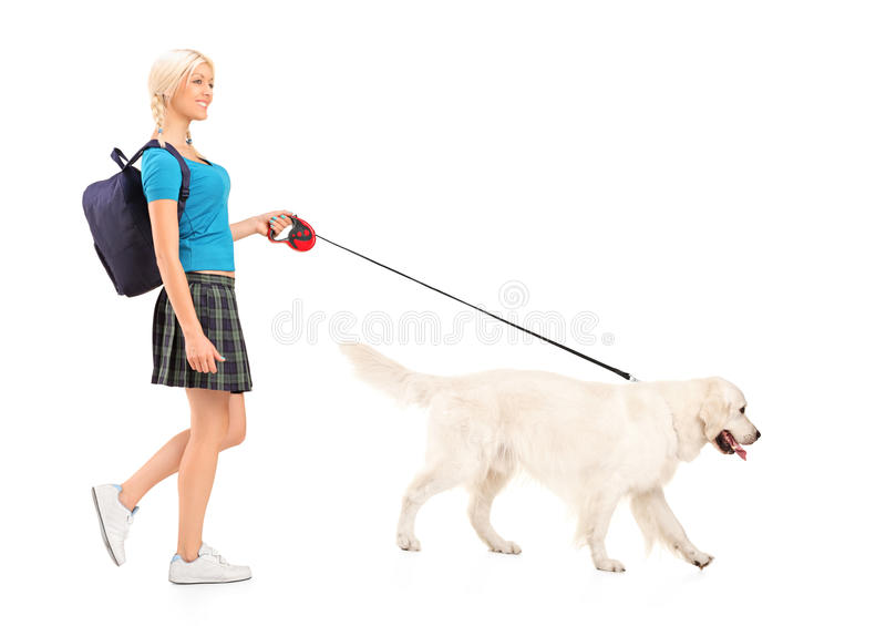 Download Female Student Walking A Dog Stock Photo - Image: 25859306