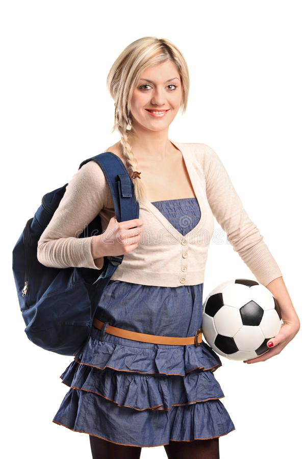 Female student wearing bag royalty free stock photos