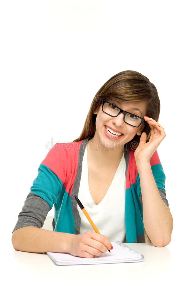 Download Female student writing stock image. Image of female, school - 22959815