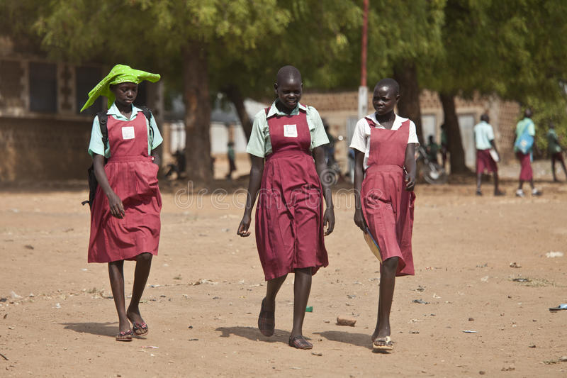 Female students in South Sudan stock photos
