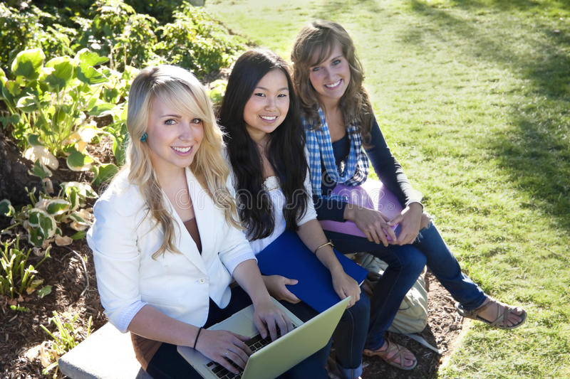 Female Students studying. A group of Young, attractive female students outside studying royalty free stock photos