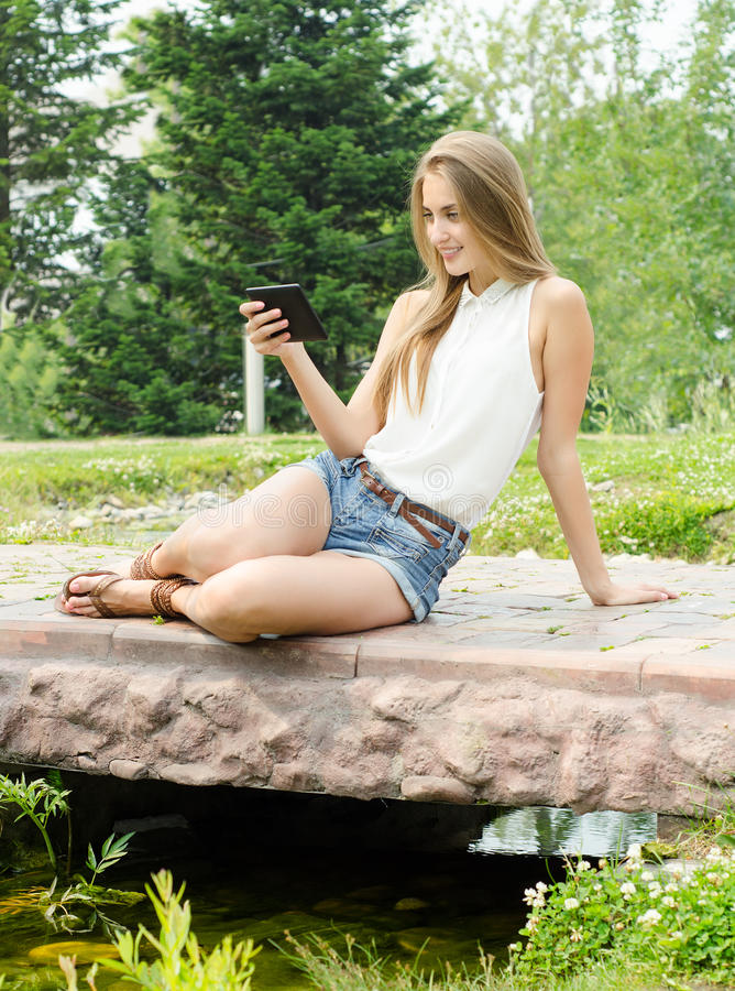 Female studing using tablet stock photos