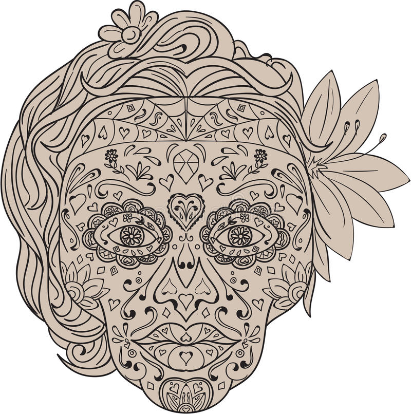 Female Sugar Skull Calavera Retro. Illustration of a decorated female sugar skull or calavera with hair and flowers viewed from front to commemorate the Day of vector illustration