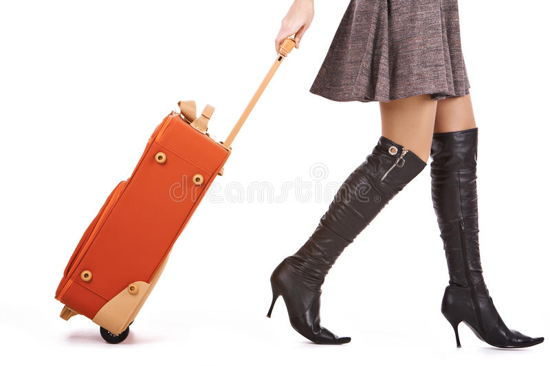 Female with suitcase stock photos