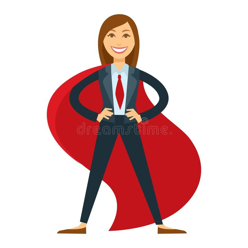 Female superhero in office suit with red tie and cloak vector illustration