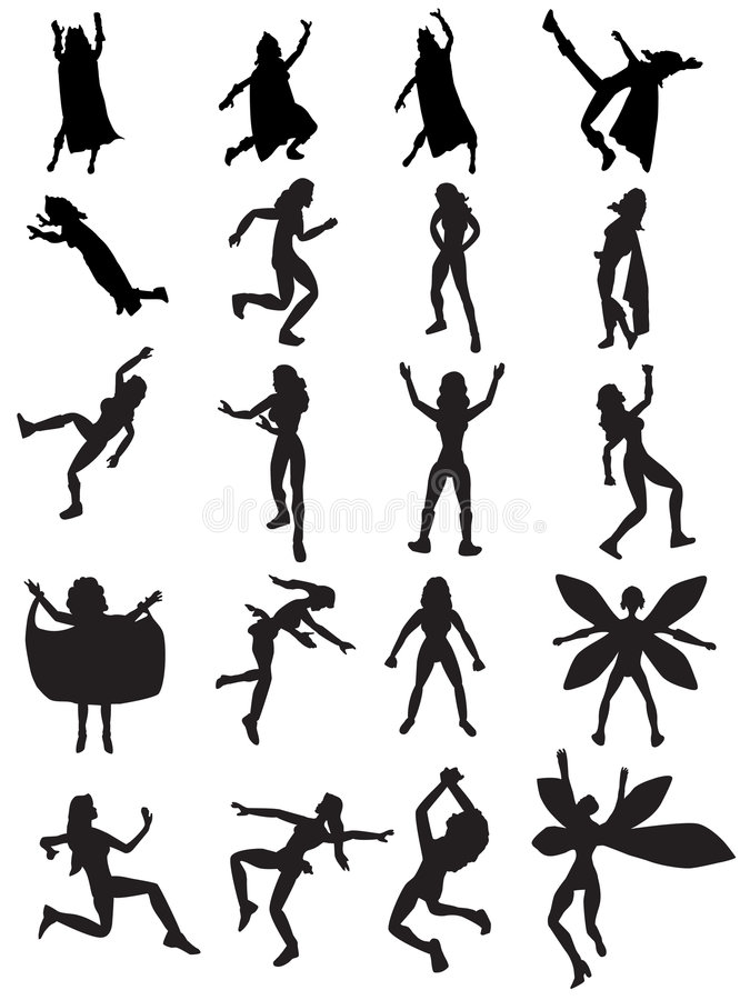 Free Female Superhero Silhouettes Royalty Free Stock Images - 4622469
