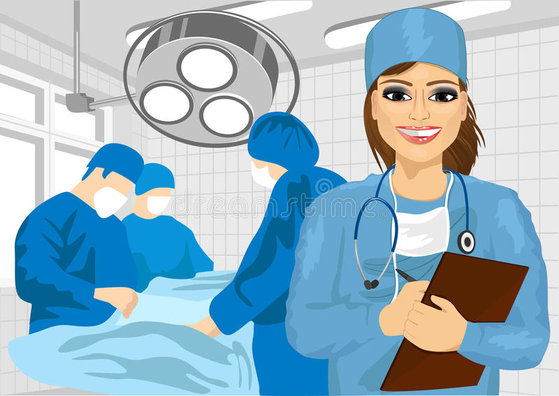 Female surgical nurse in operating room holding clipboard. Attractive female surgical nurse in operating room holding clipboard stock illustration