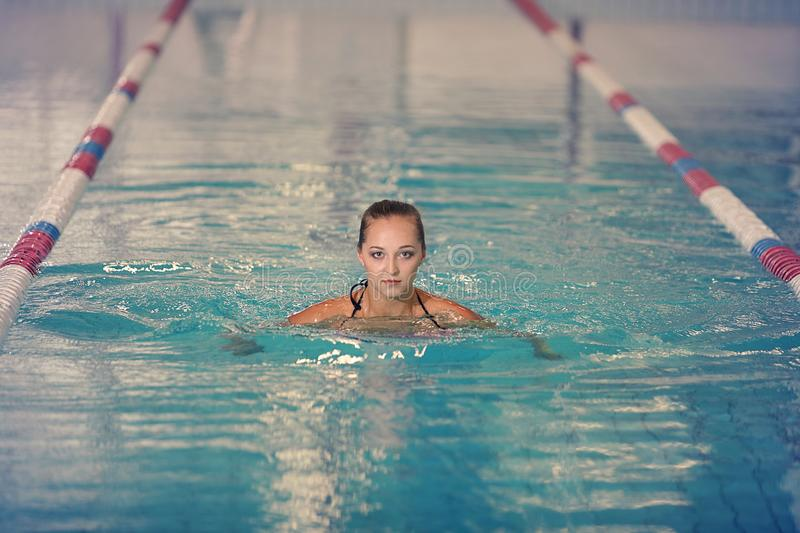 A female swimmer in indoor sport swimming pool. girl in pink sweimsuit in water stock photography