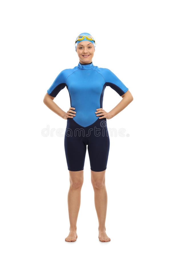 Female swimmer looking at the camera and smiling royalty free stock image