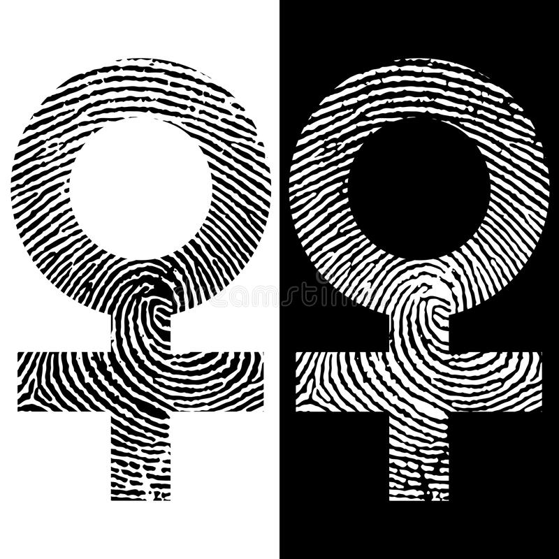 Female symbol fingerprint icon. Black and white design. Two variations. Female symbol fingerprint vector icon. Black and white design. Two variations stock illustration