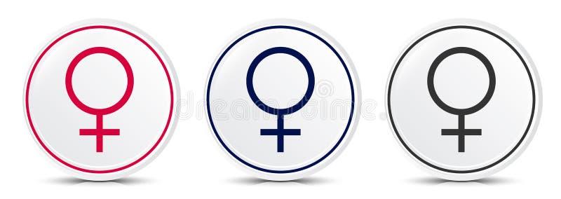 Female symbol icon crystal flat round button set illustration design vector illustration