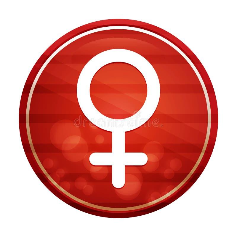 Female symbol icon realistic diagonal motion red round button illustration stock illustration