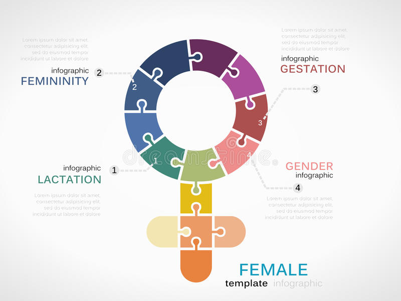 Female symbol. Infographic template with puzzled jigsaw sign stock illustration