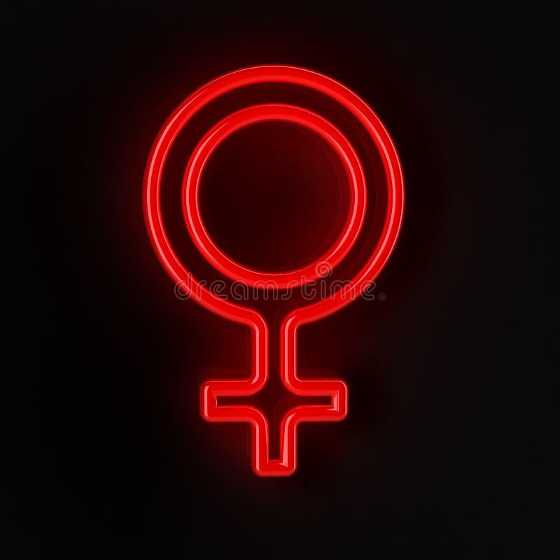 Female Symbol In Neon Red Stock Illustration Illustration Of