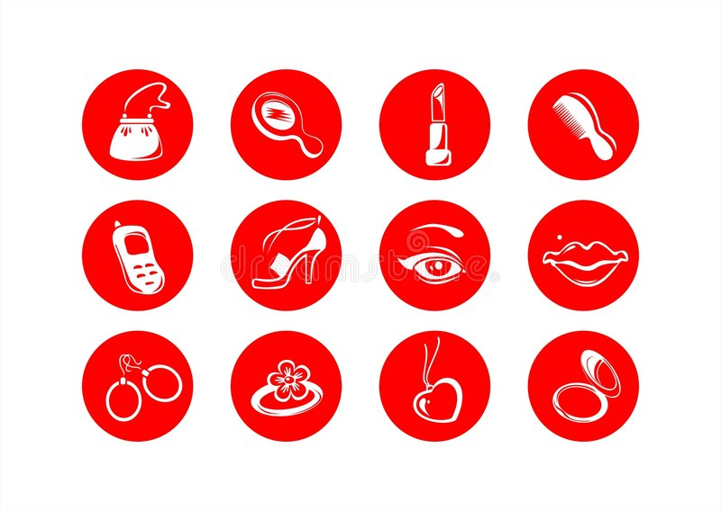 Female symbols. White symbols of subjects of female use on a red background