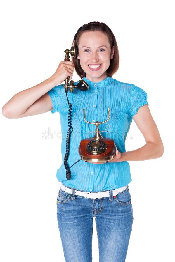 Download Female Talking On The Retro Phone Stock Image - Image: 27020701