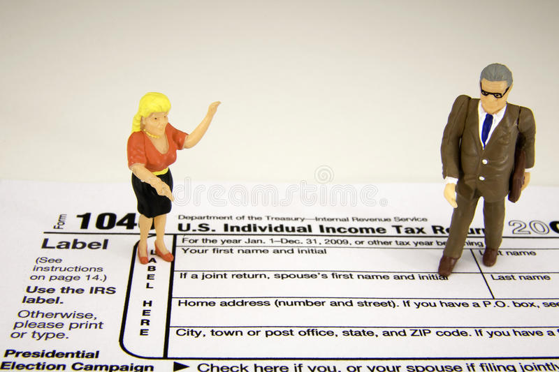 Female tax payer with accountant royalty free stock image