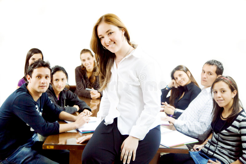 Download Female teacher stock photo. Image of class, learning, desks - 3404600