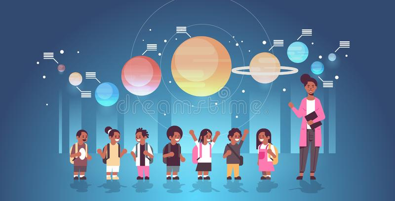 Female teacher with african american schoolchildren in observatory solar system exploration school trip excursion to. Planetarium astronomy lesson concept flat vector illustration