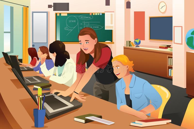 Female Teacher in Computer Class with Students. A vector illustration of Female Teacher in Computer Class with Students stock illustration